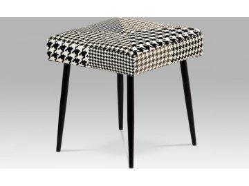 Stolička, látka černobílá patchwork, masiv kaučukovník černá