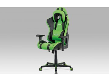 Kancelářská židle, zelená+černá ekokůže, houpací mech., plastový kříž