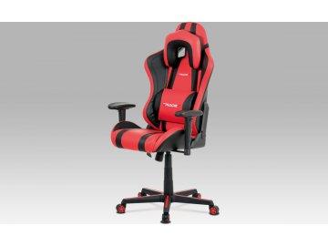 Kancelářská židle, červená+černá ekokůže, houpací mech., plastový kříž