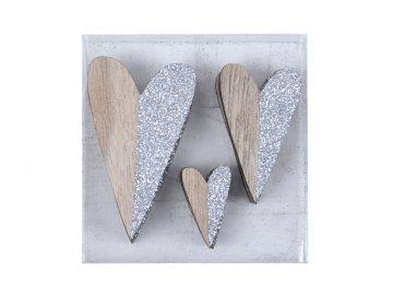 Přízdoba | srdce | stříbrná a dřevo | 12ks