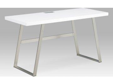 Kancelářský stůl 140x60, bílá MDF mat, broušený nikl