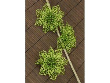 Květina zelená dekorační. Cena za sadu 3 kusy/ 1 polybag.