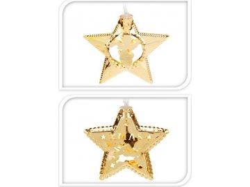 Světelná girlanda zlatá, LED - s hvězdičkami