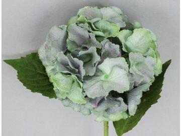 Hortenzie, umělá květina, barva modro-zelená