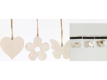 Závěsná dekorace sada 6 ks srdce, květinka, motýl