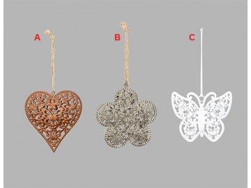 Srdce | květina | motýl | závěsná dekorace | kov | varianty | 19x9cm