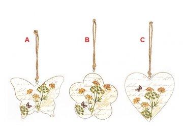 Motýl | květina | srdce | závěsná dekorace | dřevo | varianty | 23cm