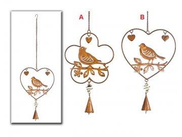 Srdce | květina s ptáčkem | kov | varianty | 48x14cm