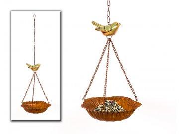 Pítko pro ptáčky | záv. | 16x52cm | kov | hnědé