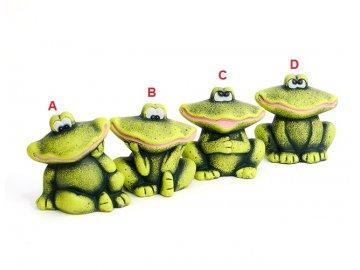 Žába | zahradní dekorace | zelená | keramika | varianty | 14x15x10cm
