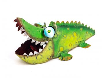 Krokodýl | zahradní dekorace | kov | 8x19x8cm