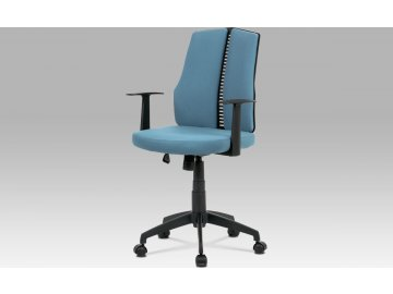Kancelářská židle, látka modrá, houpací mechanismus, kříž plast černý, plastová kolečka