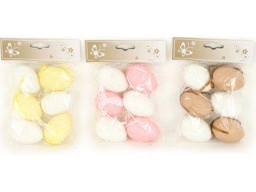 Vajíčka plastová 6cm, 6 kusů v sáčku, cena za 1 sáček, mix tří barev