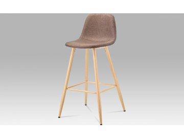 Barová židle, hnědá látka, kov buk
