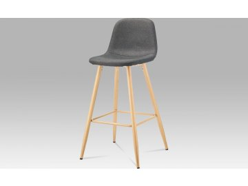 Barová židle, šedá látka, kov buk