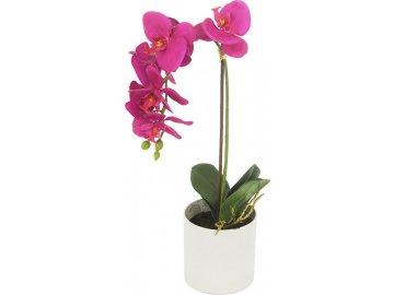 Orchidea v betonovém květnáči, umělá květina, barva tmavě růžová