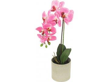 Orchidea v betonovém květnáči, umělá květina, barva světlě růžová
