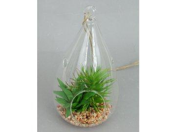 Sukulent, umělá květina ve skle na závěšení