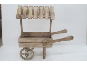 Dřevěný trakař na květiny vozík se stříškou