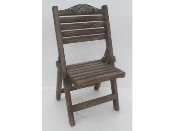 Stojan na květiny dřevěný, tvar židličky