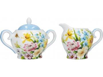 Porcelánová cukřenka a mléčenka English Garden