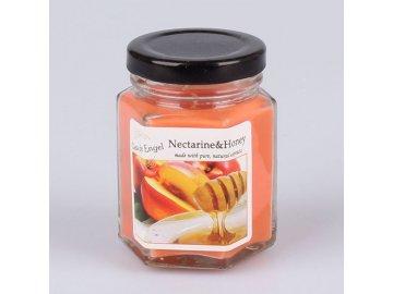 Vonná svíčka ve skle s černým víčkem Nektarinka a med 135g