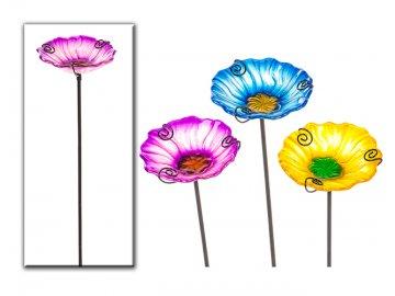 Pítko pro ptáčky | zápich | květina | kov a sklo
