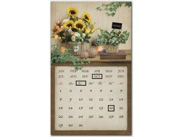 Obraz nástěnná dekorace s kovovým kalendářem a magnety,  svítící - LED.