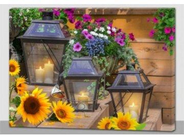 Obraz nástěnná svítící dekorace - 4 ks LED světla.