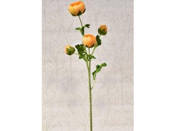 Umělý ranunculus oranžový, 68 cm