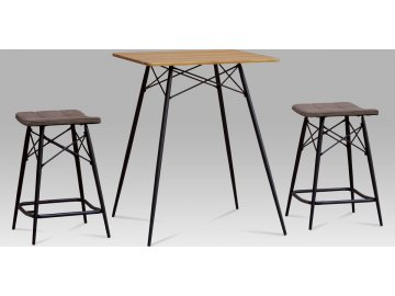 Barový set (1+2), MDF dub, látka šedá, kov matná černá