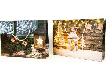 Taška dárková papírová velká ležatá, vánoční motivy, mix dvou dekorů