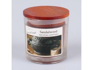 Vonná svíčka ve skle s dřevěným víčkem Santalové dřevo 180g