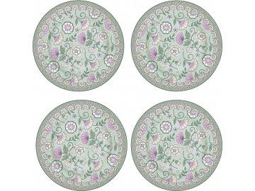 Porcelánové dezertní talíře Kalamkari Sage zelené