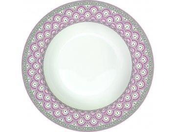 Porcelánový polévkový talíř Kalamkari růžový