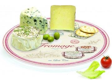 Otočné skleněné prkénko na sýry Fromage