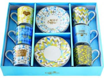 Porcelánové šálky a podšálky na kávu Cup of Coffee