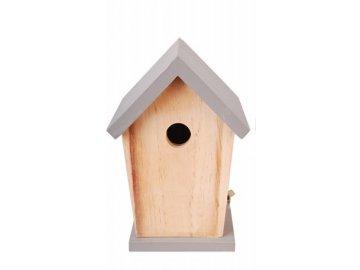 Dřevěná ptačí budka šedá 15x13x21cm