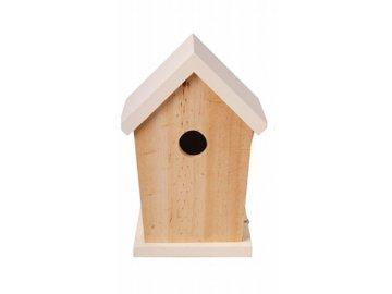 Dřevěná ptačí budka bílá 15x13x21cm