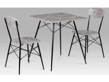 Jídelní set (1+2), MDF beton, kov matná černá