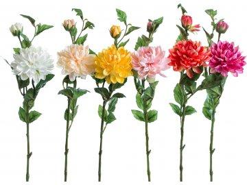 Umělá květina - Dahlie 66cm, mix barev