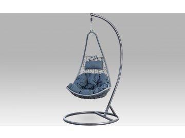 Závěsné křeslo velké, šedý umělý ratan, šedý kov, modrá látka