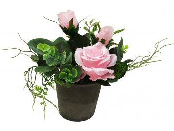 Růže v betonovém květináči, barva růžová. Květina umělá.