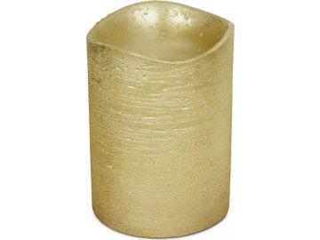 Svícen ve tvaru svíčky, s LED světlem, plast potažený voskem, barva zlatá metalická