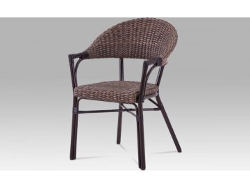 Zahradní židle, kov hnědý, umělý ratan hnědý