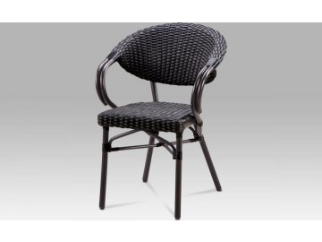 Zahradní židle, kov hnědý, umělý ratan černý