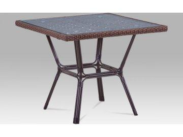 Zahradní stůl, kov hnědý, umělý ratan hnědý
