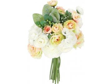 Ranunkulus, puget, barva bílo-žluto-růžová. Květina umělá.