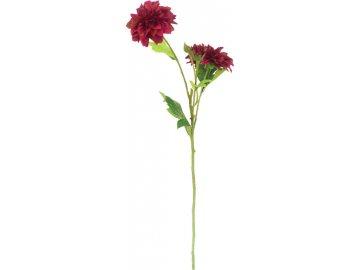 Jiřinka, barva vínová. Květina umělá.