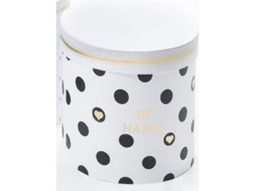 Flower box papírový, dekor bílý s černým puntíky